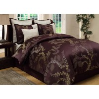NIB Beautiful 8PC Purple and Tan Floral Queen Comforter
