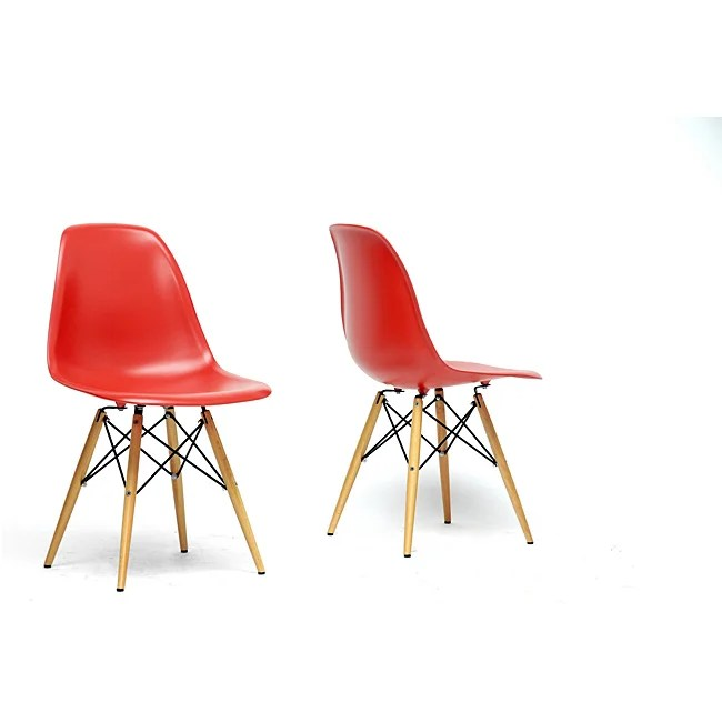mid century modern plastic chairs indoor swing chair shop baxton studio azzo red shell thumbnail set of 2