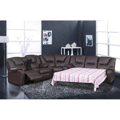 Recliner Sectional Sleeper Sofa Throw Pillows Brown Leather Shop Temper Reclining Free Shipping Today Thumbnail