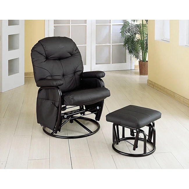 Black Swivel Rocker Glider Recliner Chair and Ottoman Set
