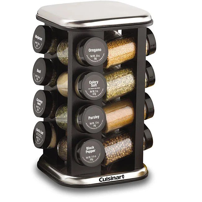 revolving spice racks for kitchen designs small kitchens cuisinart 16 jar rack with stainless steel accents ...