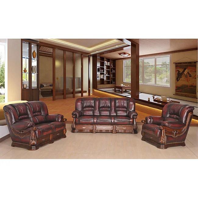 abbyson leather sofa reviews wesley hall quality jefferson classic 3-piece top grain set ...