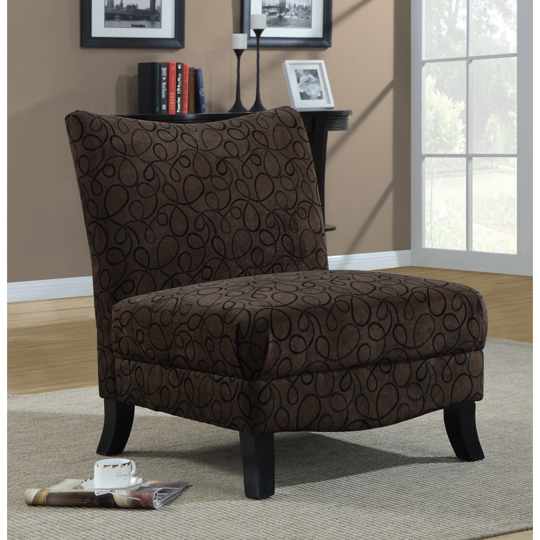 Tan Accent Chair Shop Brown Swirl Fabric Accent Chair Free Shipping Today