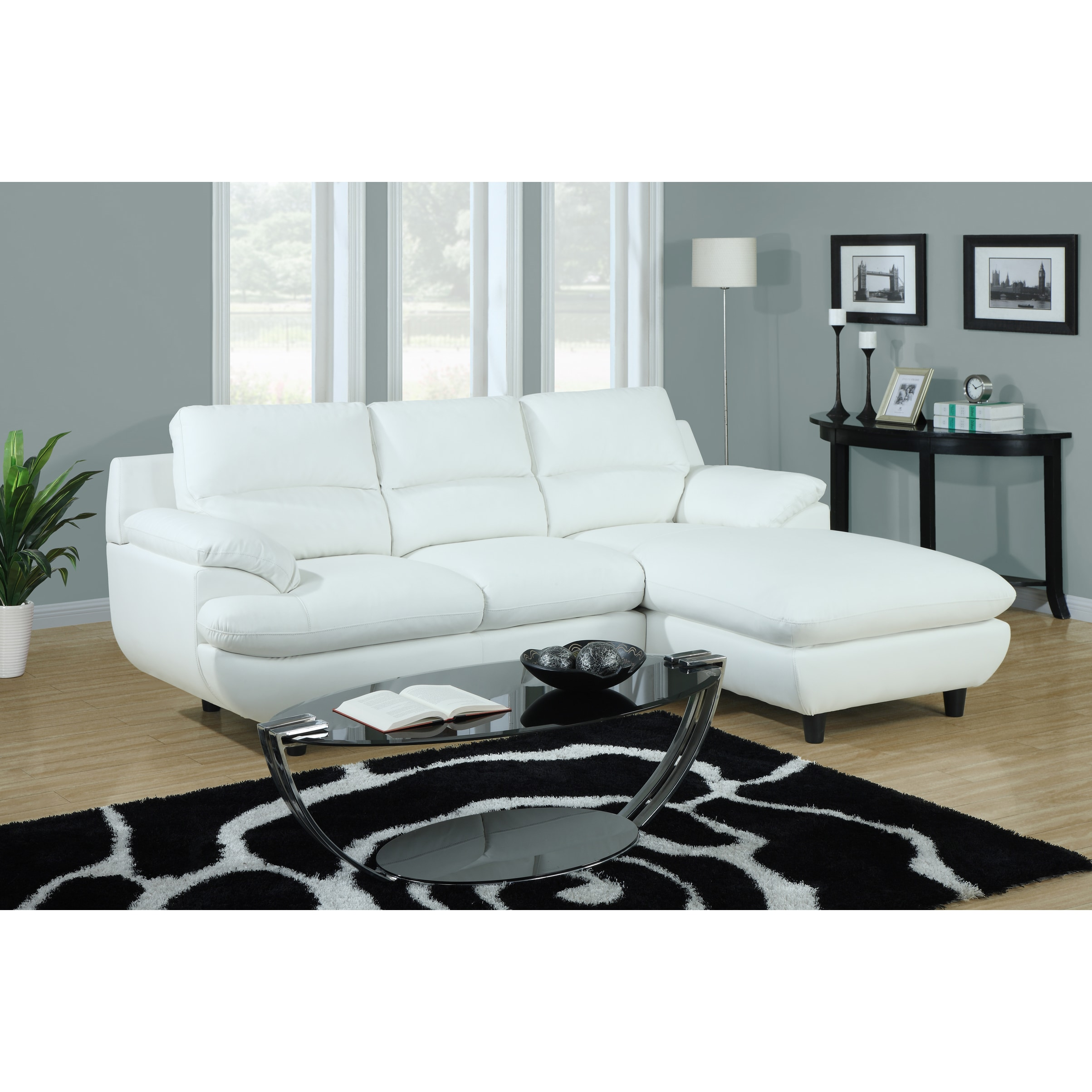 tribecca home eland black bonded leather sofa set how to make covers stay in place white sectional 14349159 overstock