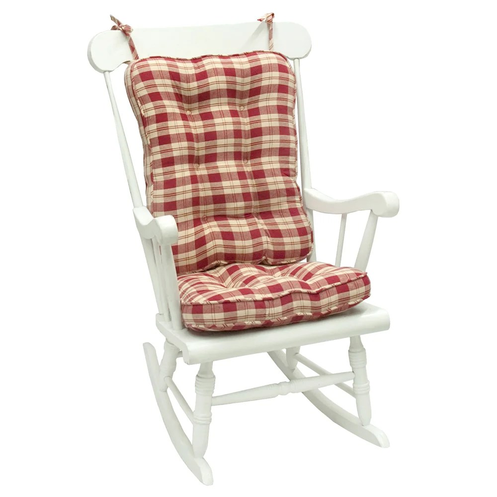 Red Plaid Standard Rocking Chair Cushion  14351272