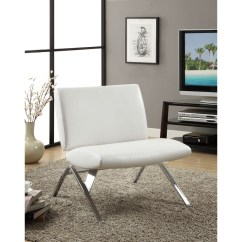 Modern Leather Accent Chairs Camping With Side Table White Look Chrome Metal Chair