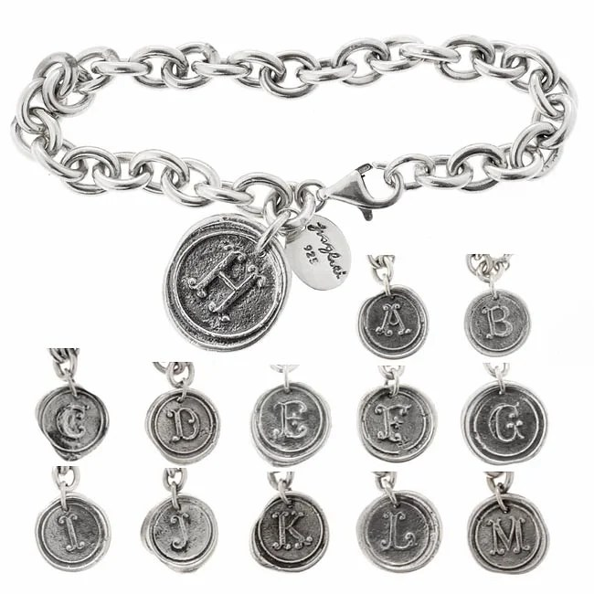 Waxing Poetic Sterling Silver Insignia Round Bracelet (A-M