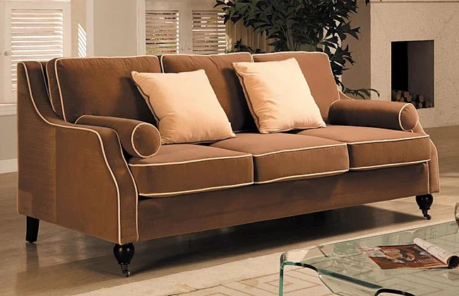 Carolyn Sofa with Contrast Piping  Free Shipping Today  Overstockcom  80000768