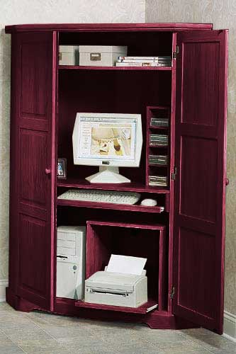 Canterbury Tall Corner Computer Armoire  Free Shipping