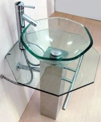 Pedestal Glass Sink with Stainless Steel Stand - Free ...