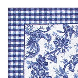 76 x 96 Handhooked Rooster Toile Blue Rug  Free