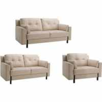 Tiffany Cream Leather Sofa, Loveseat and Chair - Free ...
