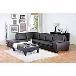 aspen convertible sectional storage sofa bed modern outdoor sofas angela dark brown 2-piece leather