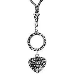 Shop Ken Craft Sterling Silver Marcasite Heart Necklace