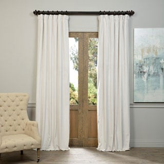 Exclusive Fabrics Signature Off White Velvet Blackout Curtain