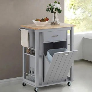 rolling kitchen carts worktops shop porch den leonard traditional grey wood island free shipping today overstock com 20543550