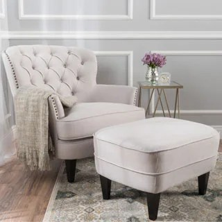 living room chair with ottoman covers for gliders buy sets chairs online at overstock com tafton tufted fabric club by christopher knight home