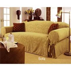 Sure Fit Stretch Stripe 2 Piece T Cushion Sofa Slipcover Good Deals Paisley Manor Chenille Beige (sofa) - 952595 ...