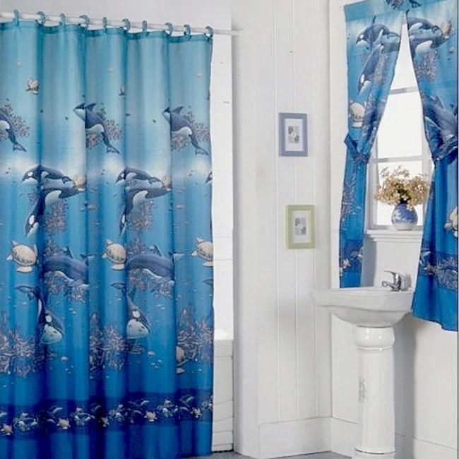 aquarium blue shower curtain set and 4 piece window set