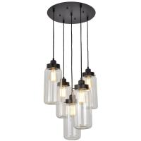 Shop 5 light vintage industrial glass mason jar pendant ...