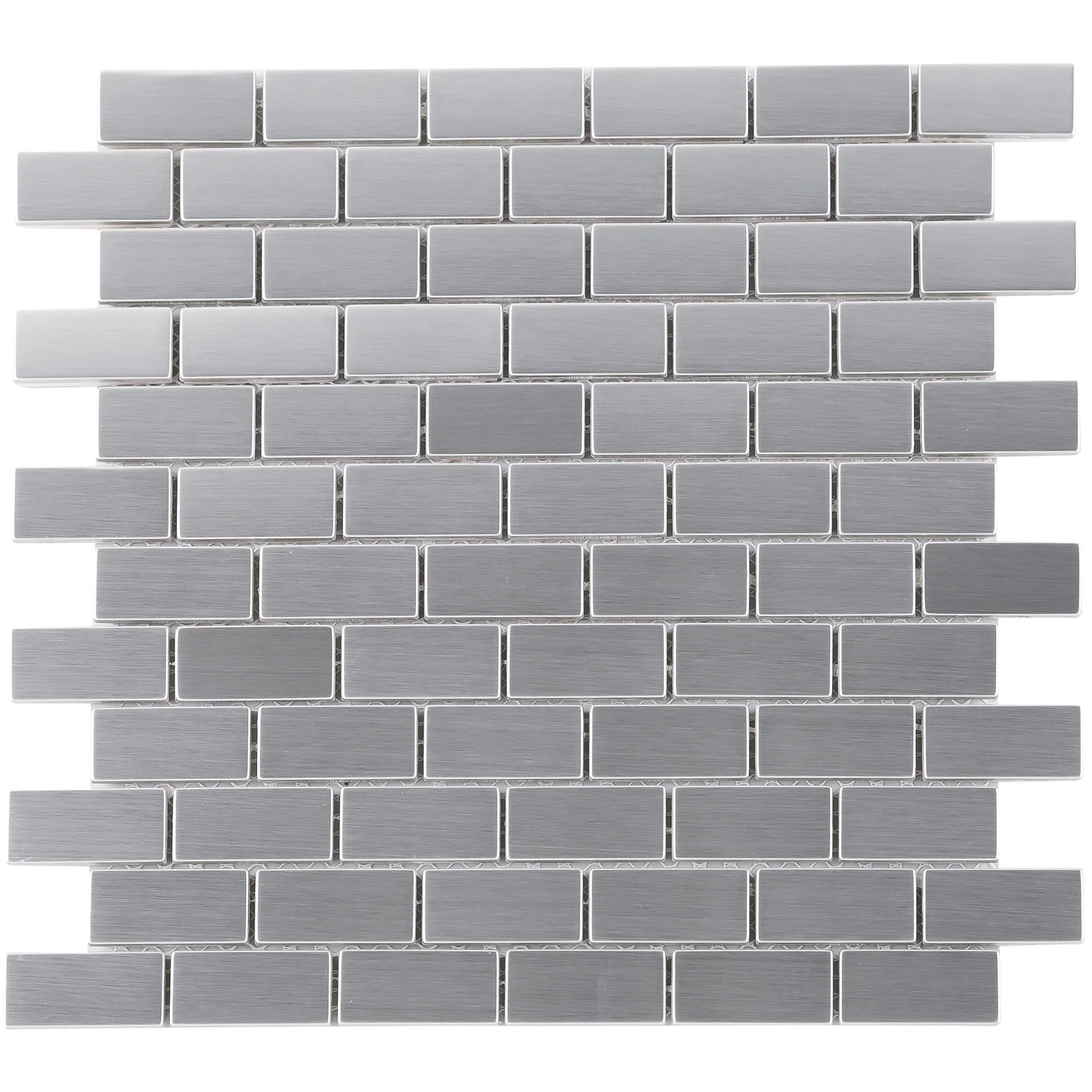 tilegen brushed stainless steel brick 1 x2 metal mosaic tile in silver gray wall tile 10 sheets 9 6sqft
