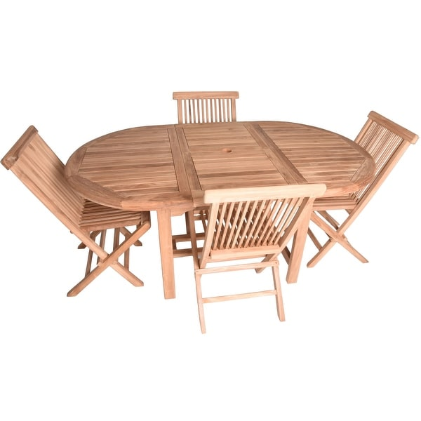 teak folding chairs canada toddler table and shop zenvida 5 piece extendable dining with set