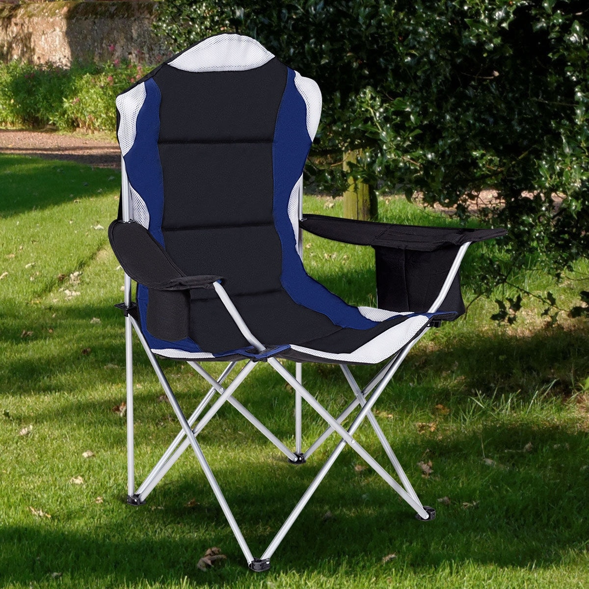 Picnic Chairs Costway Fishing Camping Chair Seat Cup Holder Beach Picnic Outdoor Portable Folding Bag