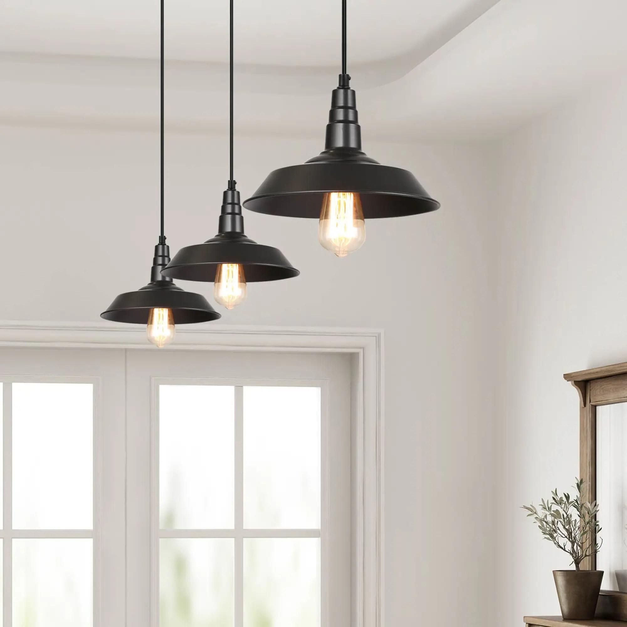 modern farmhouse 3 pack black barn pendant lighting warehouse ceiling lighting d10 2 x 6 5