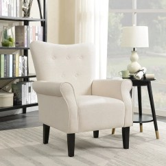 Modern Wingback Chair Canada Lawn Chairs For Heavy Person Shop Belleze Accent Armrest Linen With High Backrest Beige