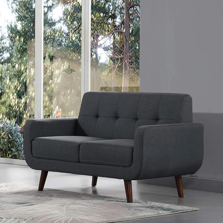 Easy To Assemble Upholstered Linen Fabric Sleeper Sofa Modern Tufted Loveseat Entertainment Futon Sofa Bed