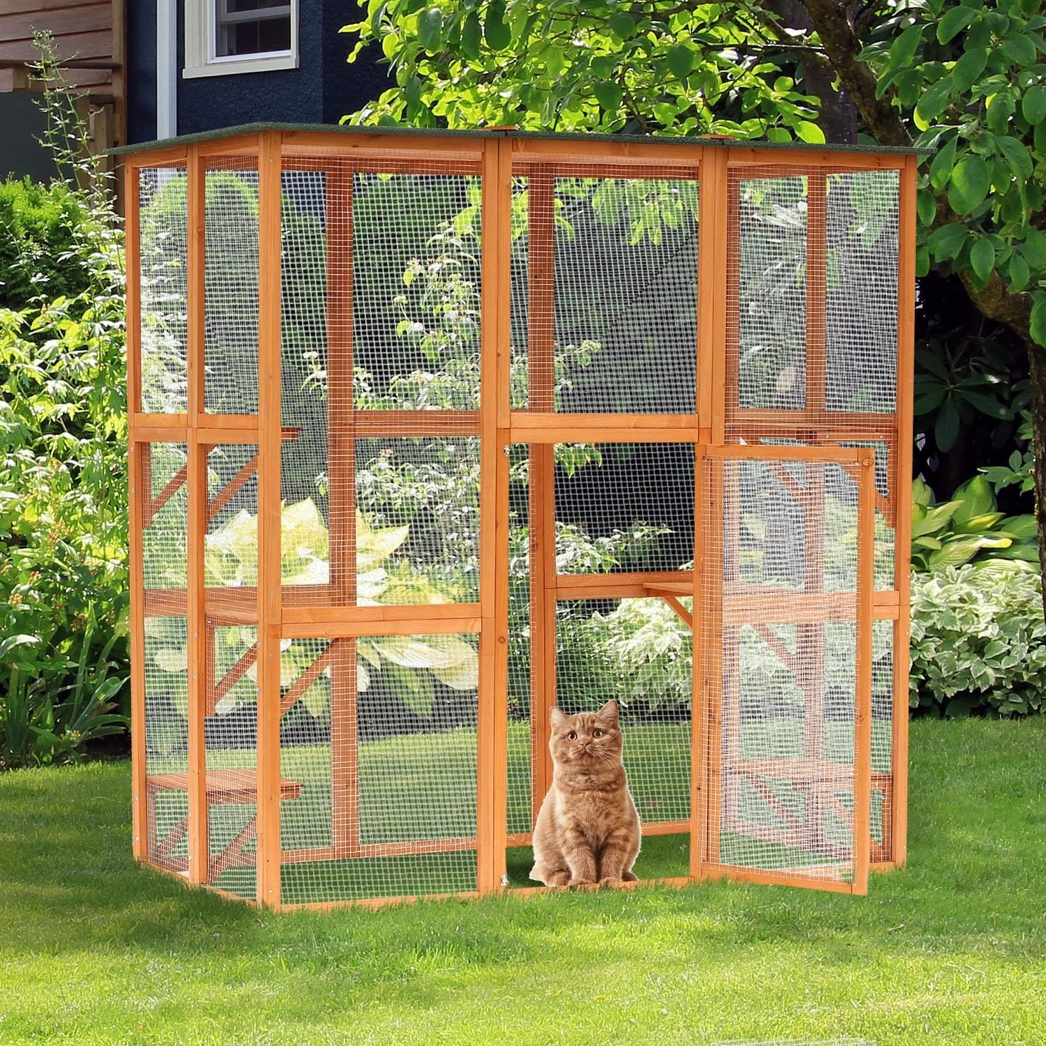 large wooden outdoor cat enclosure cage 71 l x 38 5 w x 71 h
