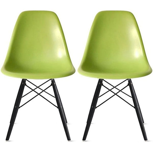black plastic chair with wooden legs swivel bomstad shop 2xhome set of 2 green dark wood dining free shipping today overstock com 19874696