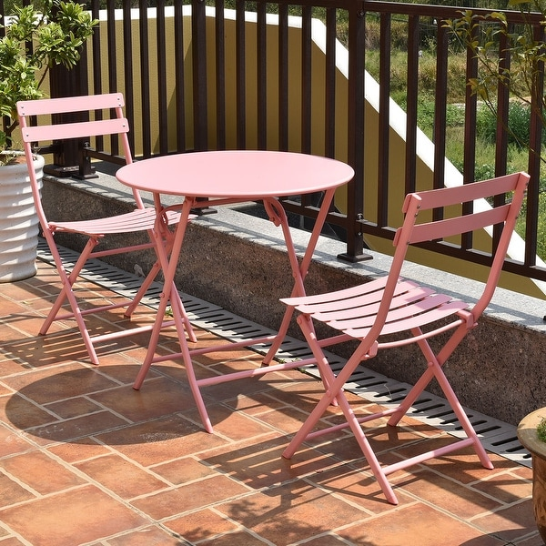 foldable table and chairs garden ozark trail folding chair shop costway 3 pc set outdoor patio pool backyard furniture pink