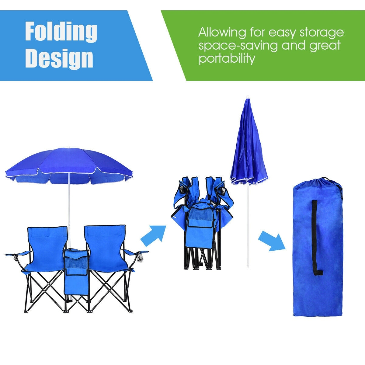 Double Camping Chair Costway Portable Folding Picnic Double Chair W Umbrella Table Cooler Beach Camping Chair
