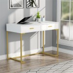 Computer Desk Writing Desk With 2 Drawers White Gold Overstock 31503738