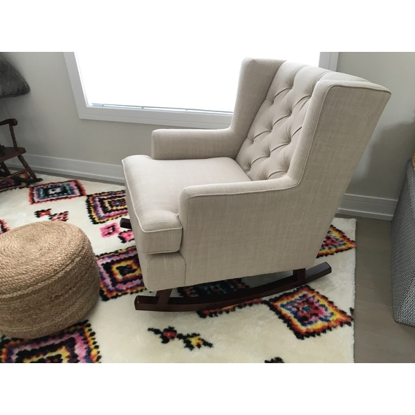 abbyson living thatcher fabric rocking chair in beige covers and table linens shop rocker on sale free shipping today overstock com 10562454