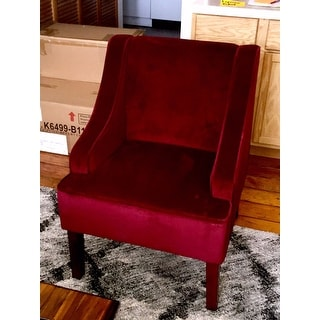 overstock arm chair folding chairs for rent shop homepop swoop accent in berry merlot velvet - free shipping today overstock.com ...