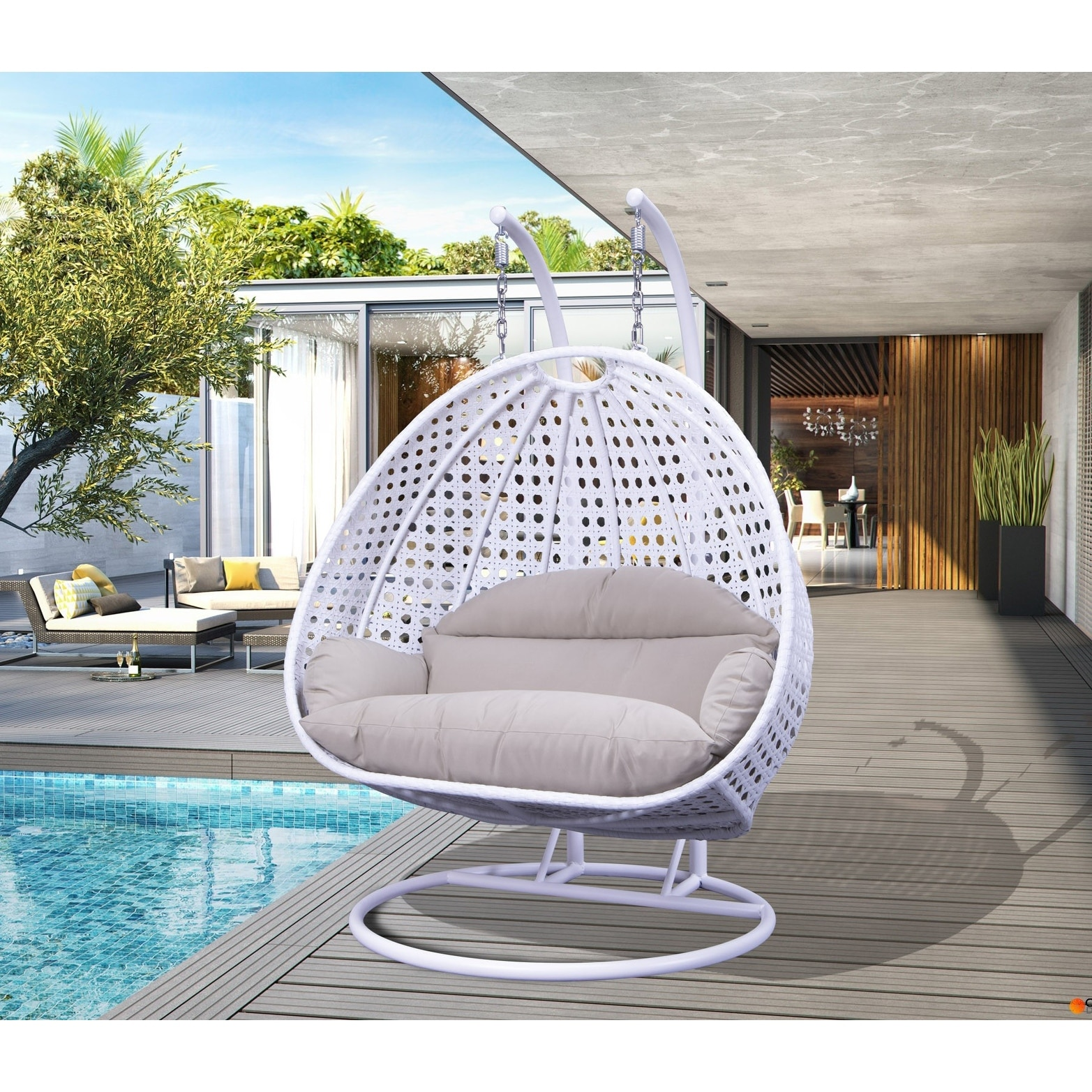 Shop Leisuremod Indoor Outdoor Wicker 2 Person Hanging Swing Chair Overstock 28424662