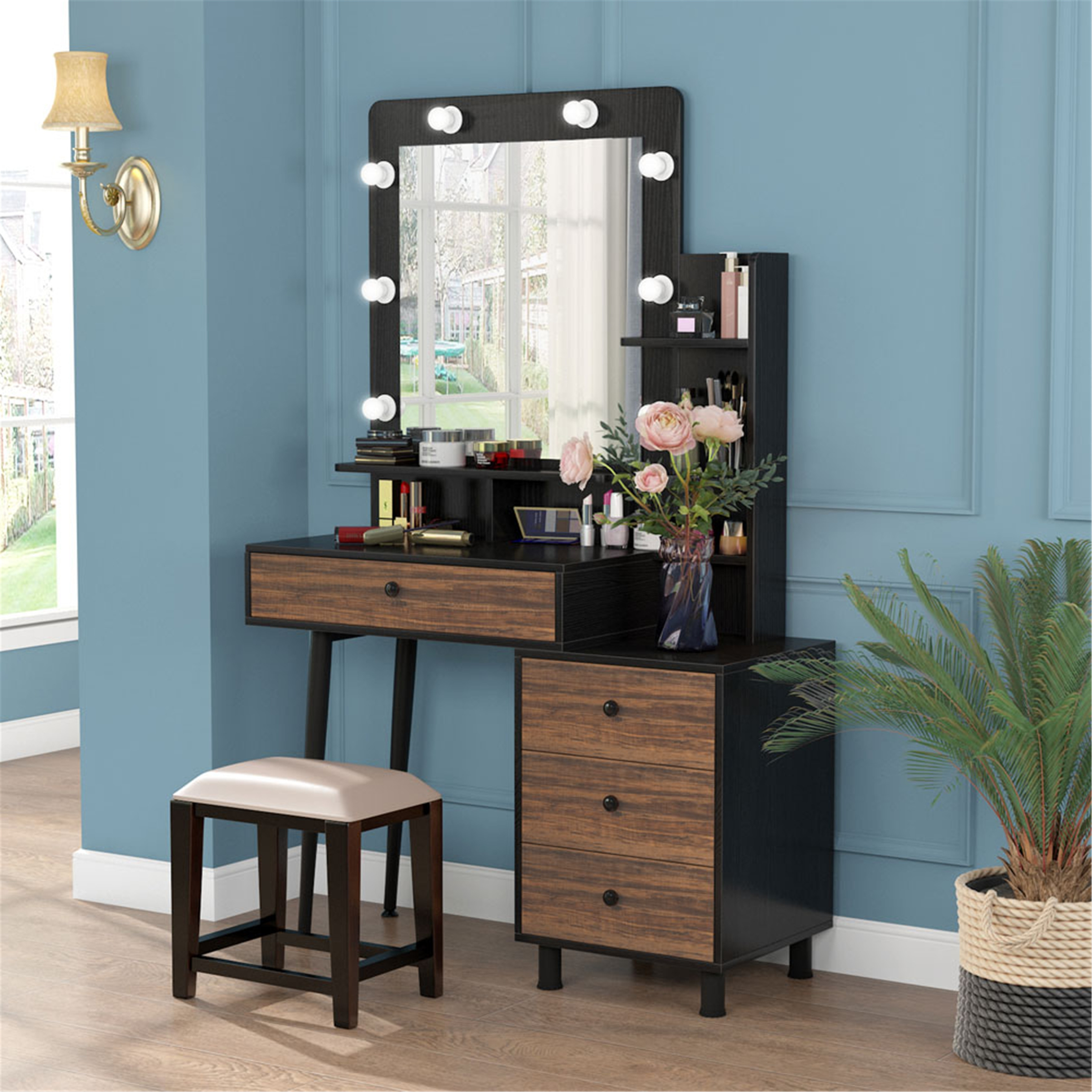 makeup vanity table with lighted mirror and 3 drawer chest black brown