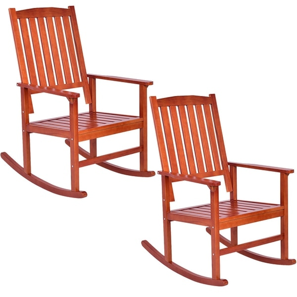 wooden rocking chairs for adults indoor glider chair uk shop costway set of 2 wood porch rocker outdoor patio deck furniture brown