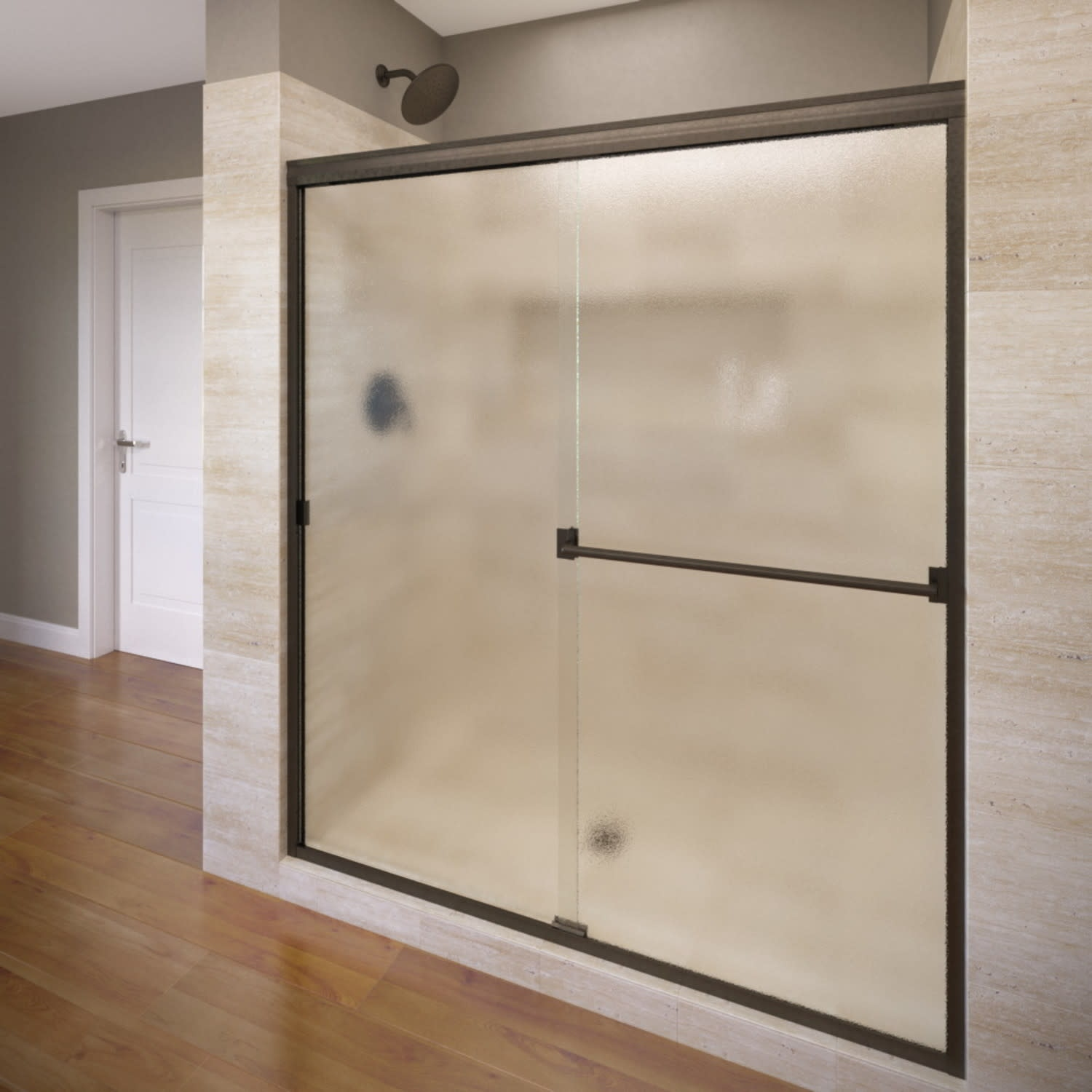 Basco 3500 44sob Classic 65 1 2 High X 44 Wide Bypass Semi Frameless Shower Door With Obscured Glass
