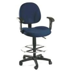 Drafting Office Chair Christmas Back Covers Shop Boss B1616 Blue Adjustable Height Arms Free Shipping Today Overstock Com 24809901