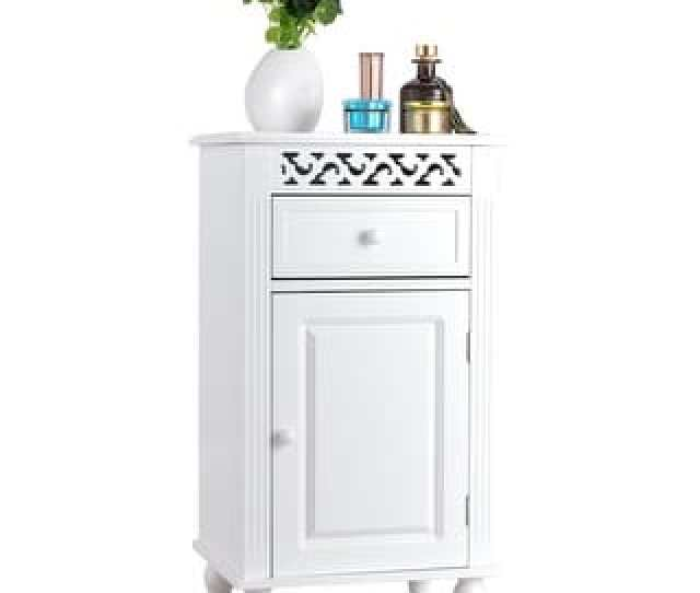 Shop Gymax Storage Floor Cabinet Bathroom Organizer Floor Cabinet Drawer Kitchen White On Sale Free Shipping Today Overstock 23038547
