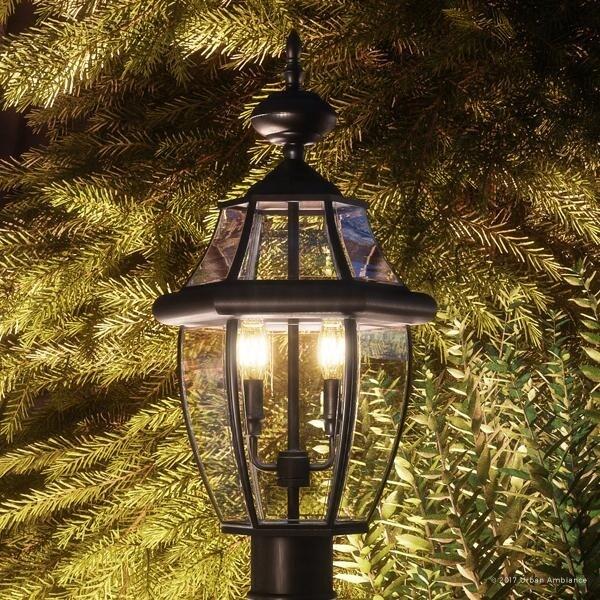 luxury colonial outdoor post light 21 h x 11 w with tudor style versatile design black silk finish 11