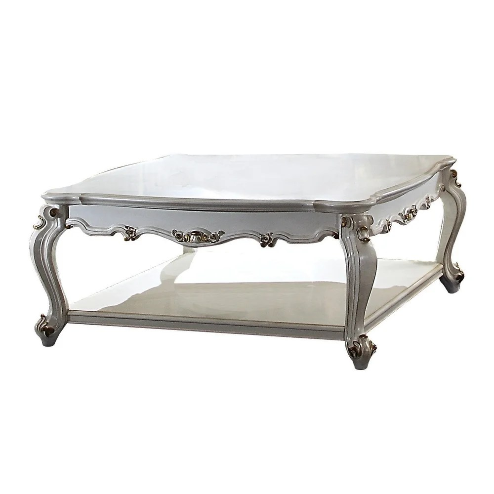 overstock traditional scalloped top coffee table with queen anne legs antique white wood transitional coffee tables square includes hardware