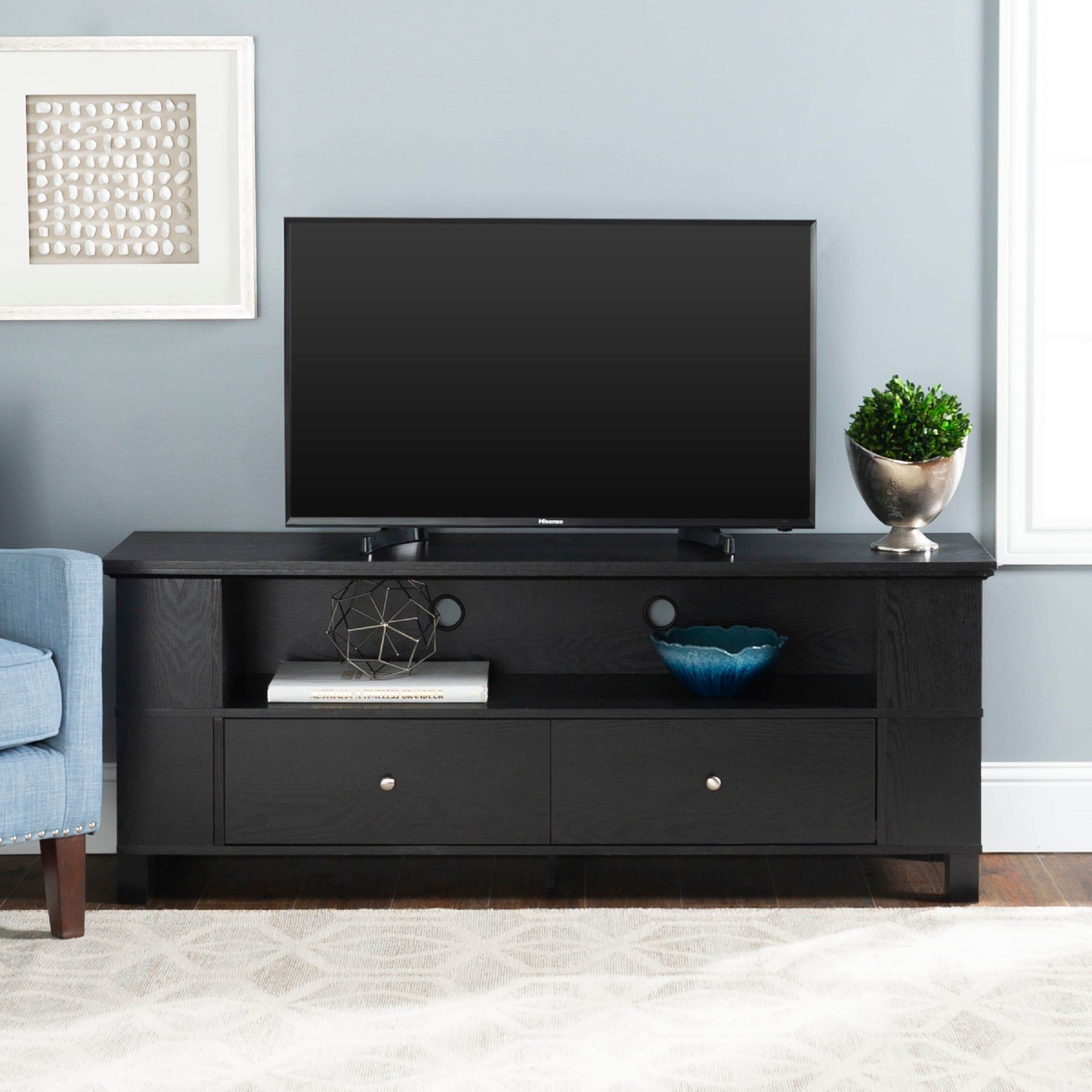 Shop Middlebrook Designs 59 Inch Black Tv Stand Storage Console On Sale Overstock 5584038