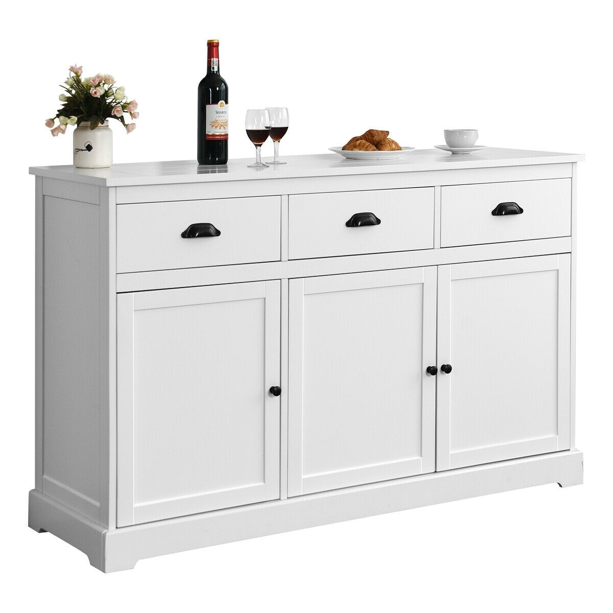 Shop Black Friday Deals On Gymax 3 Drawers Sideboard Buffet Cabinet Console Table Kitchen Storage Overstock 27746613