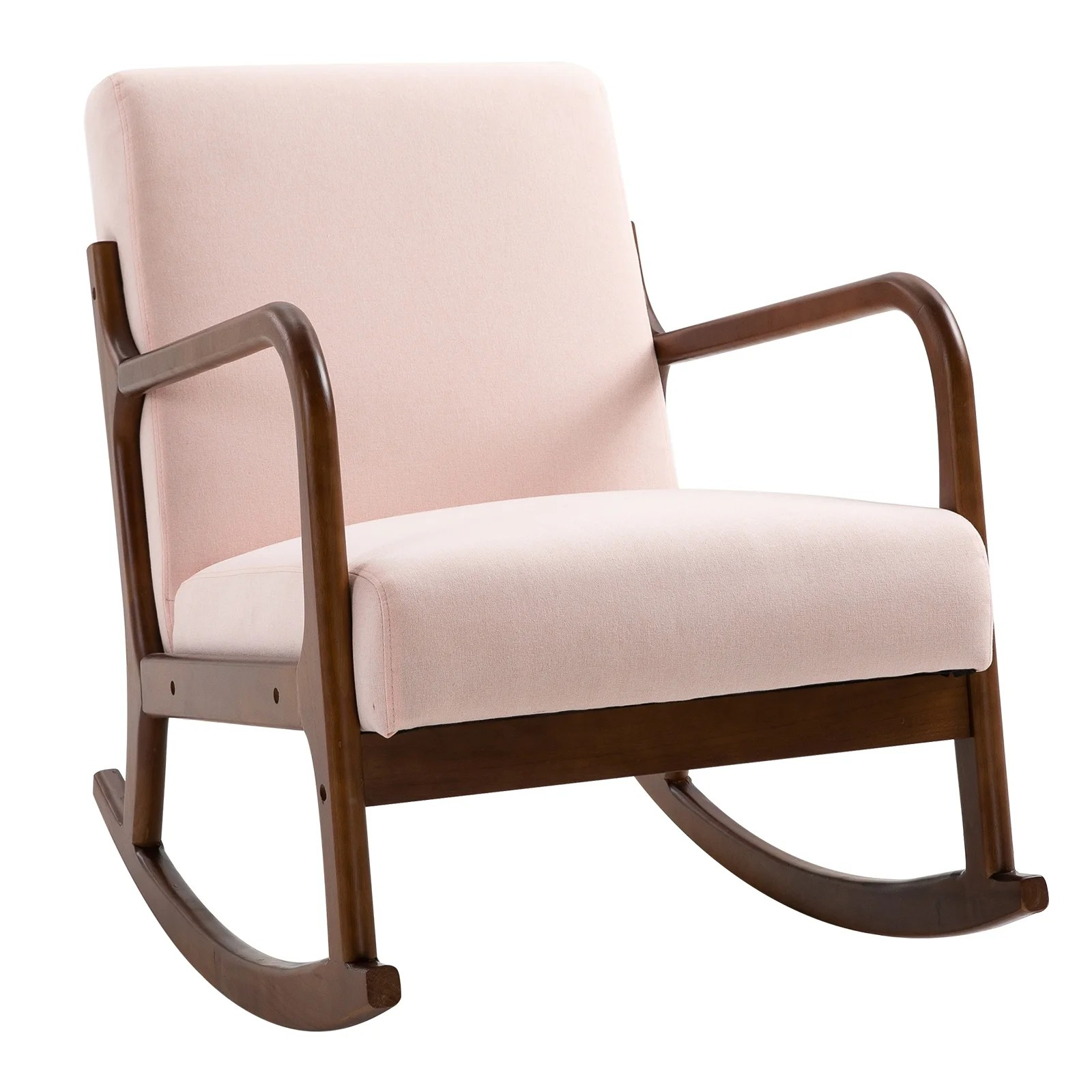 Shop Homcom Rocking Chair With Curved Wood Base Fabric Rocker With Padded Seat Home Furniture Bedroom Living Room Relax On Sale Overstock 31686663 Pink