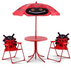 Folding Chair With Umbrella Commode Walgreens Shop Costway Kids Patio Set Table And 2 Chairs W Beetle Outdoor Garden Yard