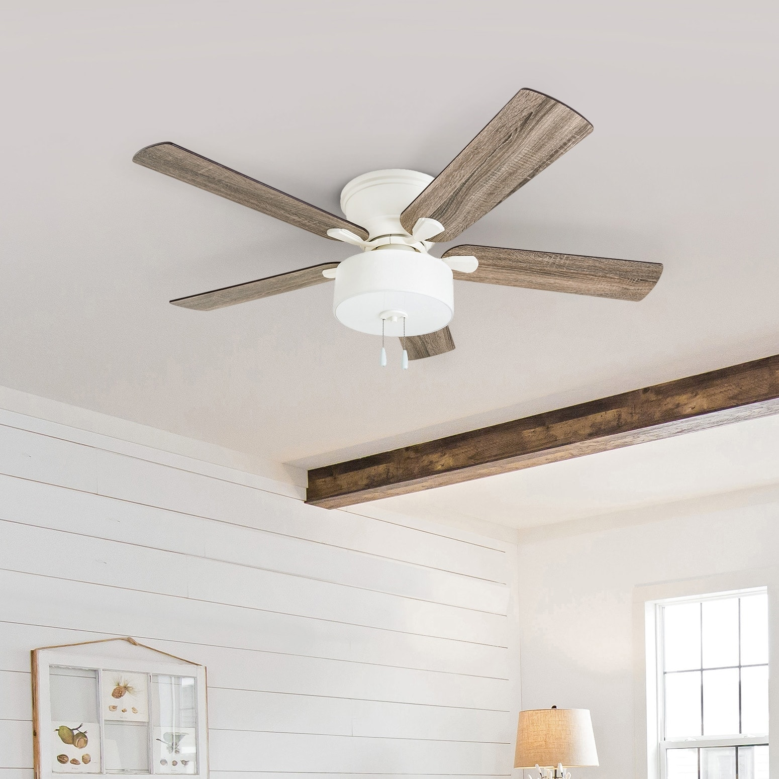 the gray barn rousham 52 inch coastal indoor led ceiling fan with pull chains 5 reversible blades 52